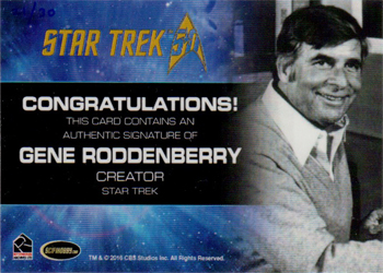 Cut Signature Card - Gene Roddenberry