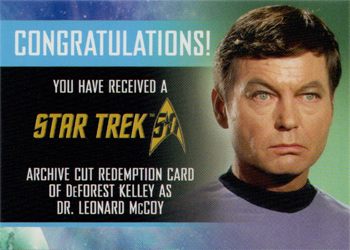 Cut Signature Redemption Card - DeForest Kelley
