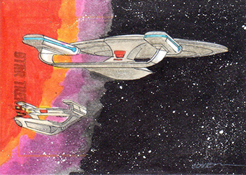 Roy Cover Sketch - USS Enterprise NCC-1701-D and Oberth