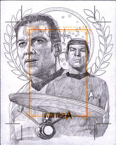 Roy Cover AR Sketch - Kirk, Spock and USS Enterprise NCC-1701