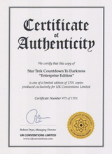 IDW Star Trek Countdown to Darkness #1 Enterprise Edition Certificate