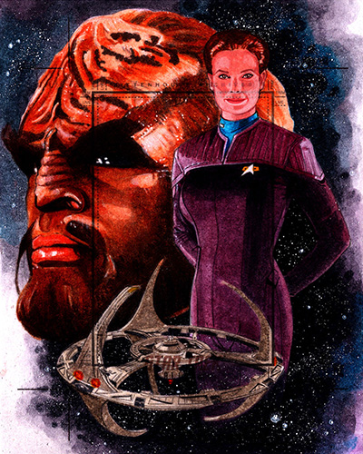 Roy Cover AR Sketch - Worf, Jadzia Dax and DS9