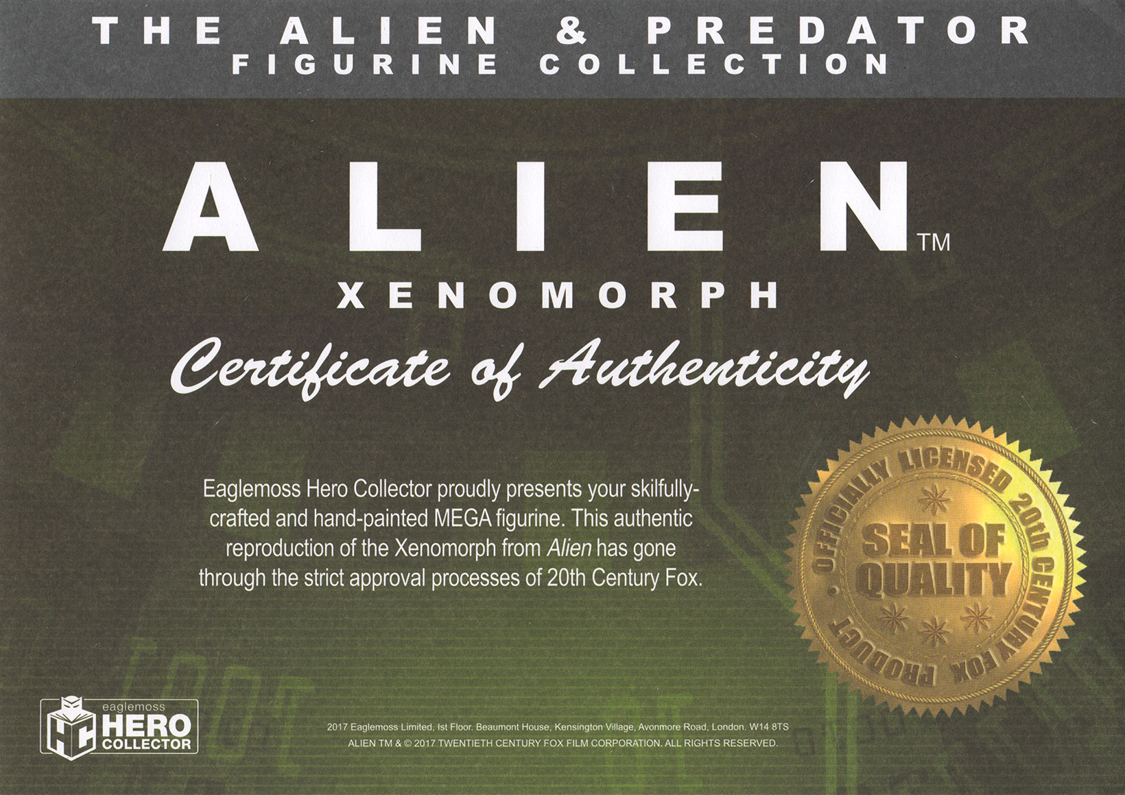 Eaglemoss Alien & Predator Magazine Issue Mega 1 Certificate