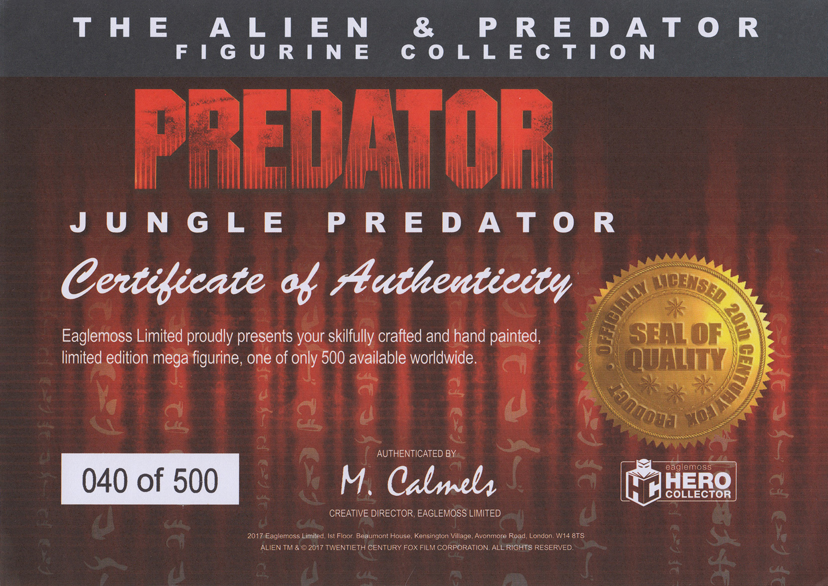 Eaglemoss Alien & Predator Magazine Issue Mega 2 Certificate