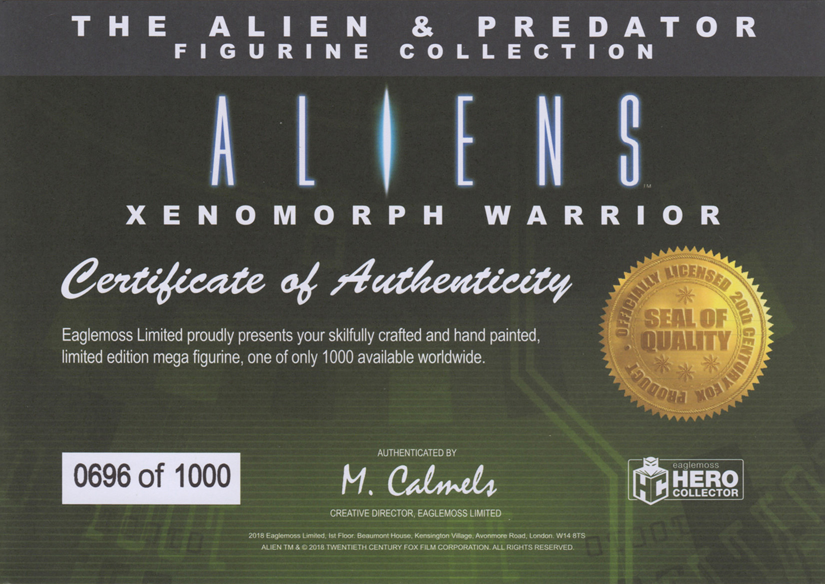 Eaglemoss Alien & Predator Magazine Issue Mega 4 Certificate