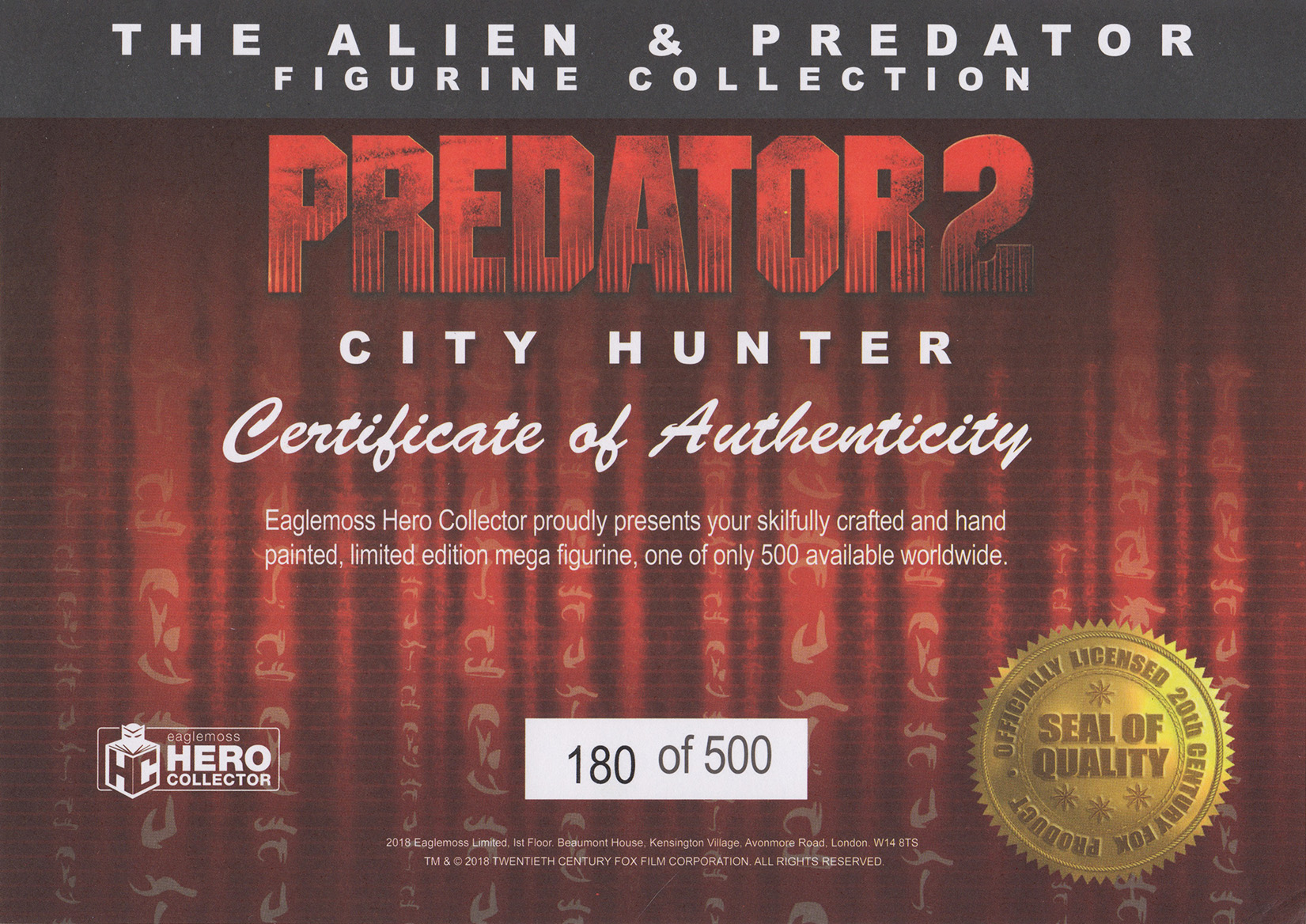 Eaglemoss Alien & Predator Magazine Issue Mega 5 Certificate