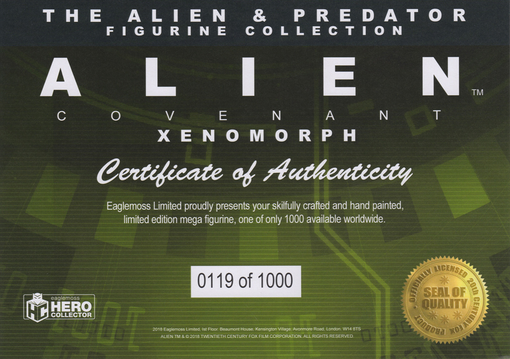 Eaglemoss Alien & Predator Magazine Issue Mega 6 Certificate