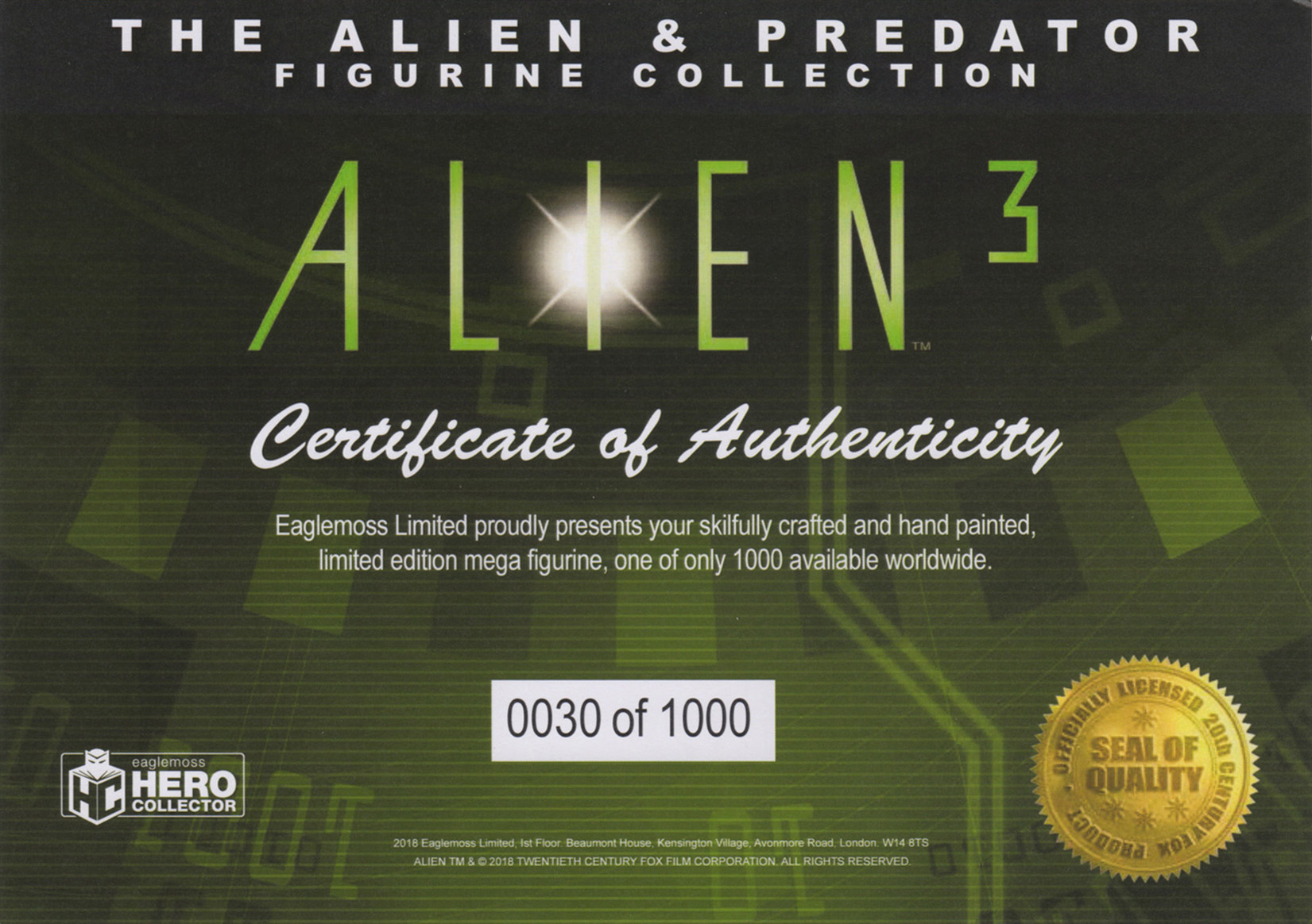 Eaglemoss Alien & Predator Magazine Issue Mega 7 Certificate