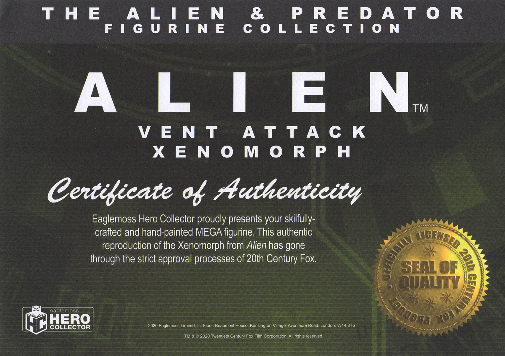 Eaglemoss Alien & Predator Magazine Issue Mega 8 Certificate
