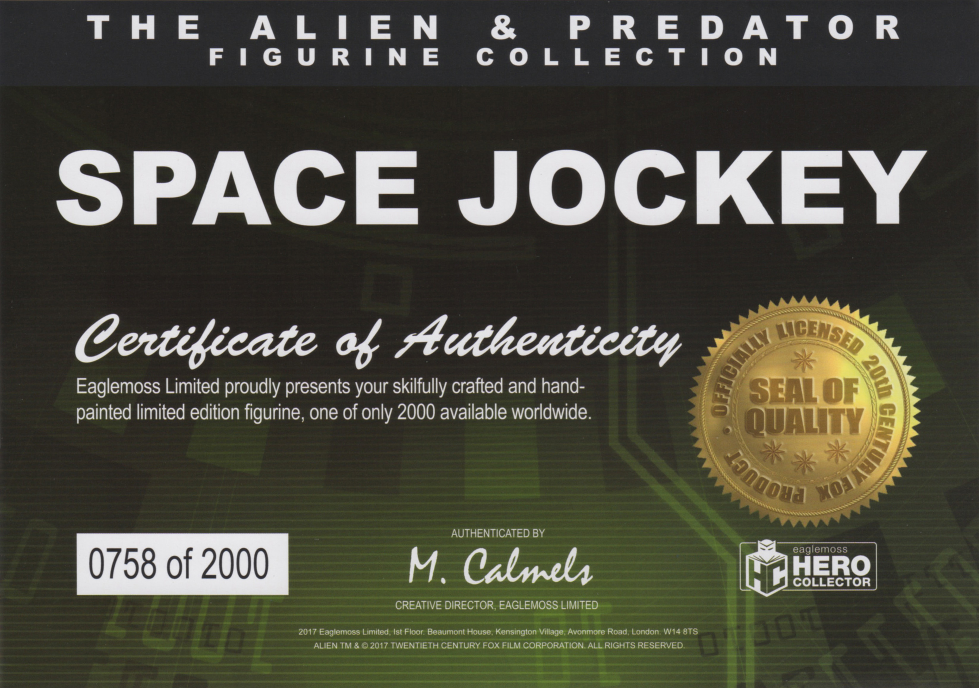 Eaglemoss Alien & Predator Magazine Online Exclusive Issue 1 Certificate