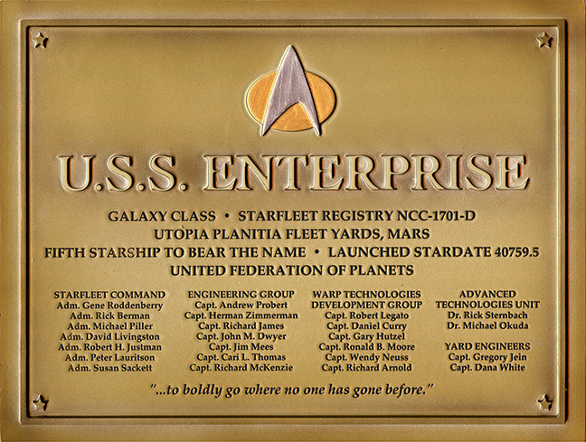 Eaglemoss U.S.S. Enterprise NCC-1701-D Dedication Plaque