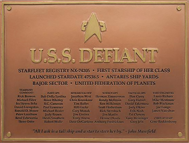 Eaglemoss U.S.S. Defiant NX-74205 Dedication Plaque