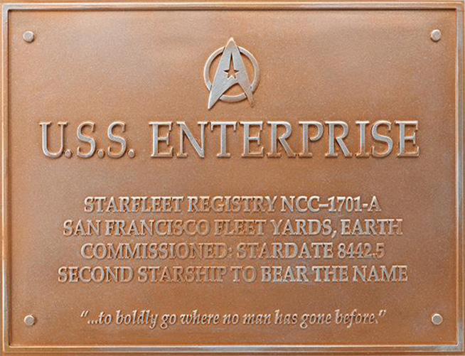 Eaglemoss U.S.S. Enterprise NCC-1701-A Dedication Plaque