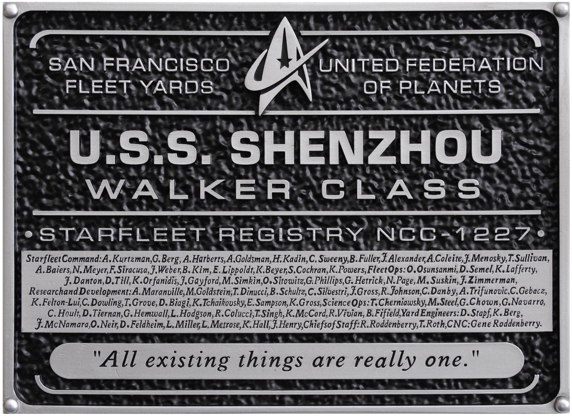 Eaglemoss U.S.S. Shenzhou NC-1227 Dedication Plaque