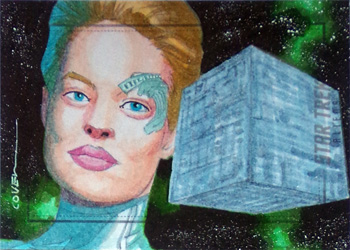 Roy Cover Sketch - Seven of Nine & Borg Cube
