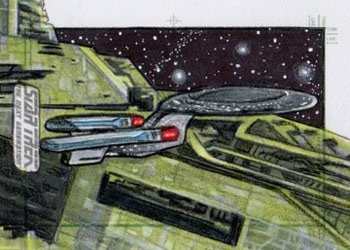 Adam & Bekah Cleveland Sketch - USS Enterprise NCC 1701-D and Renegade Borg Ship #2
