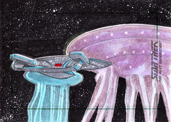 Roy Cover Sketch - USS Enterprise NCC 1701-D and Farpoint Entities