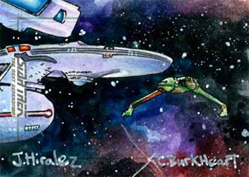 James Hiralez Sketch - 1701 & Klingon Bird of Prey