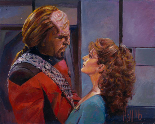 Charles Hall AR Sketch - Worf and Deanna Troi
