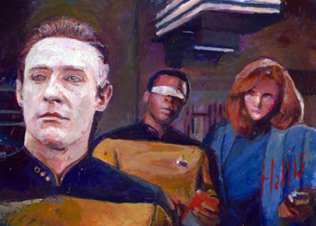 Charles Hall Sketch - Data, Geordi & Beverly