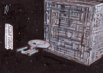Lee Lightfoot Sketch - USS Enterprise NCC-1701-D and Borg Cube