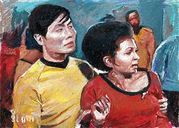 Charles Hall Sketch - Sulu and Uhura
