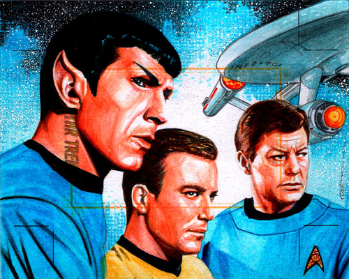 Roy Cover AR Sketch - Kirk, Spock, McCoy and USS Enterprise