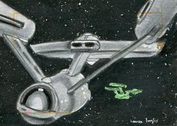 Laura Inglis Sketch - USS Enterprise and USS Defiant