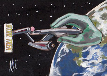 Lee Lightfoot Sketch - U.S.S. Enterprise and Apollo's Hand