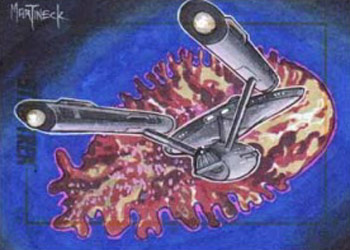 Warren Martineck Sketch - Enterprise and Space Amoeba