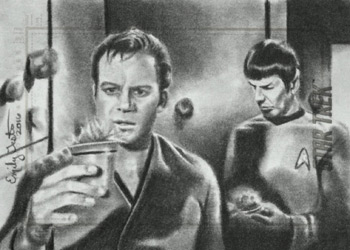 Emily Tester Sketch - Kirk and Spock with Tribbles