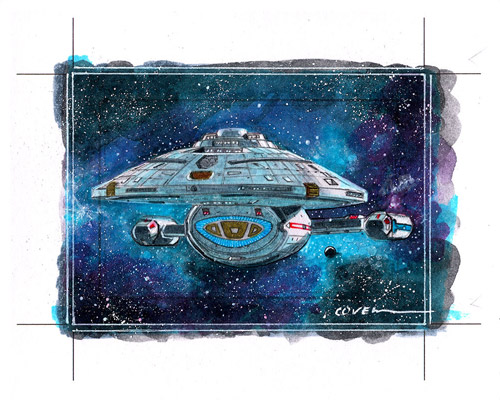 Roy Cover AR Sketch - USS Voyager NCC-74656