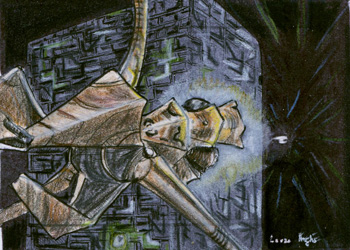 Laura Inglis Sketch - Species 8472 Bioship and Borg Cube