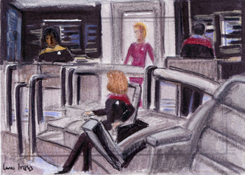 Laura Inglis Sketch - Janeway and Seven on the Bridge