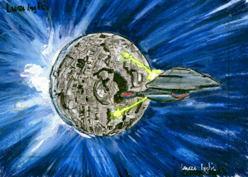 Laura Inglis Sketch - USS Voyager and Borg Sphere