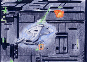 Laura Inglis Sketch - USS Voyager and Borg Tactical Cube