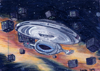 Laura Inglis Sketch - USS Voyager and Borg Cubes