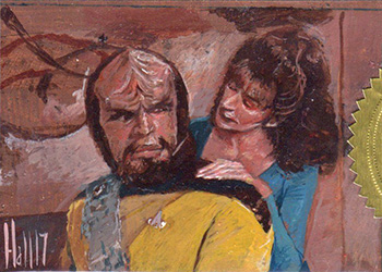 Charles Hall Sketch - Deanna Troi and Worf