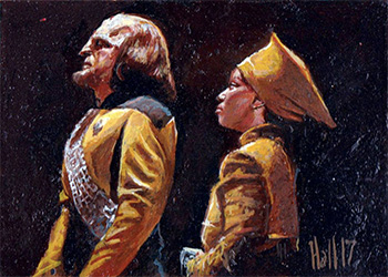 Charles Hall Sketch - Guinan and Worf