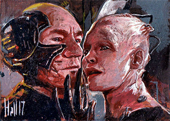 Charles Hall Sketch - Borg Queen and Jean-Luc Picard