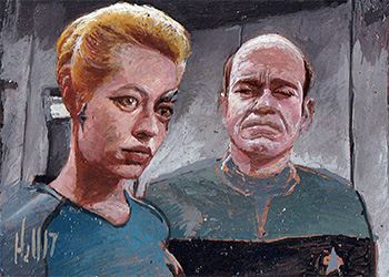 Charles Hall Sketch - Seven of Nine and The Doctor