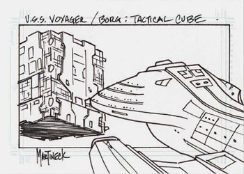 Martineck Sketch - Borg Tactical Cube vs Voyager